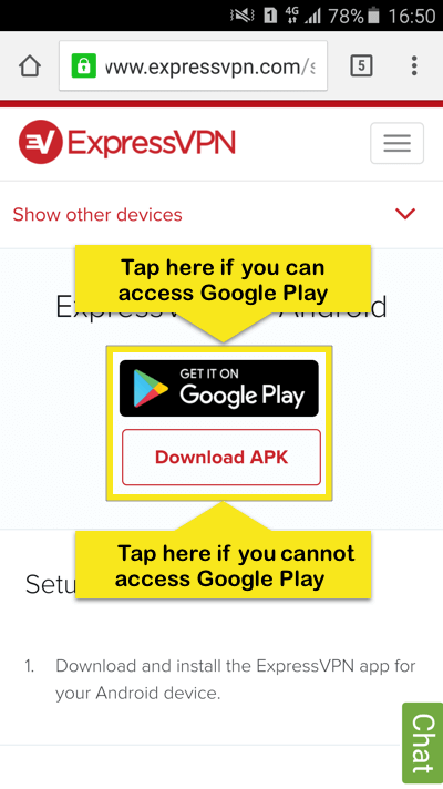 ExpressVPN setup page with Google Play and Download APK buttons highlighted.