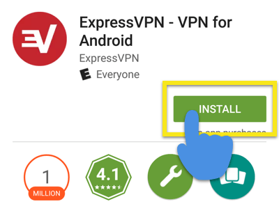Google Play Store screen with Install button highlighted.