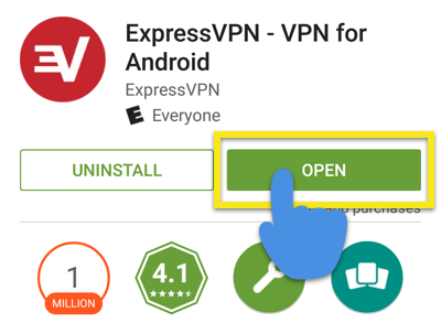 Play Store screen with Open button highlighted.