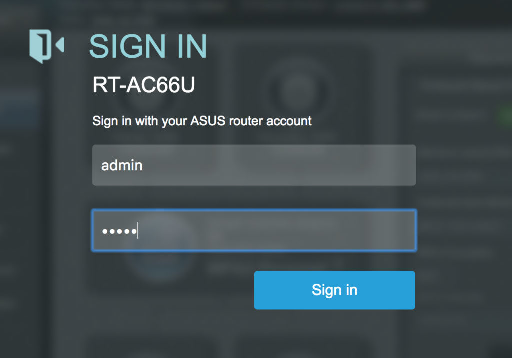 ASUS router sign-in screen
