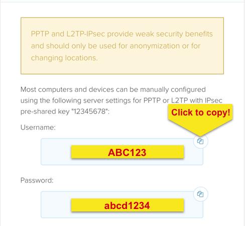 Credenziali ExpressVPN per la configurazione manuale PPTP e L2TP.
