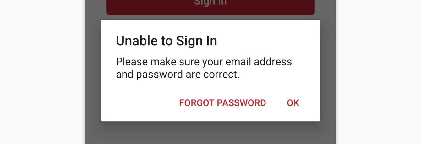 Sign in error message on the ExpressVPN app.