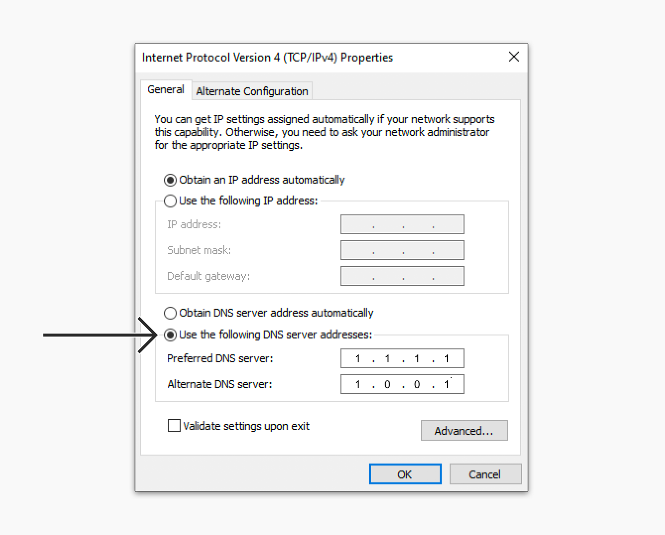 Enter Cloudfare DNS servers on the Windows device.