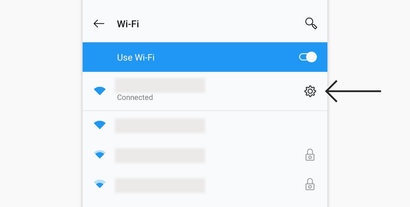 Tap the gear icon next to your current active Wi-Fi network.