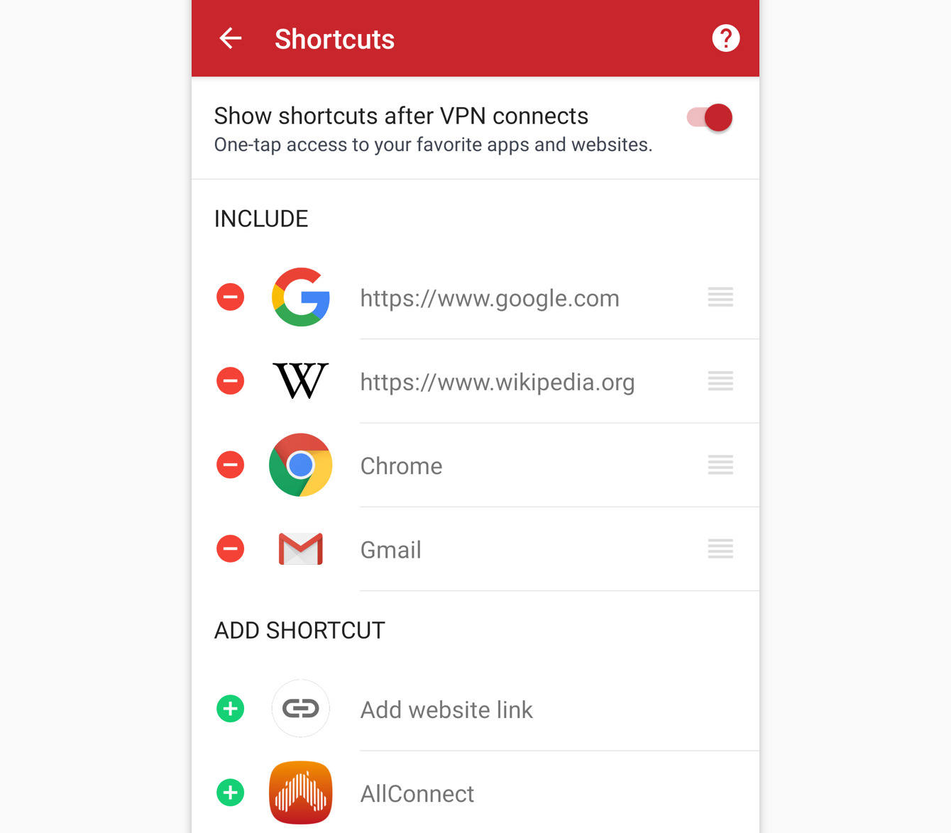 You can select up to five apps or websites you want to appear as shortcuts.