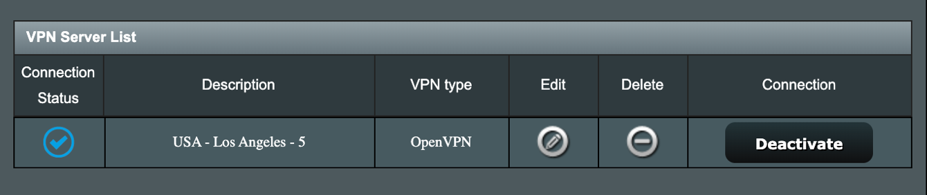 """A """"tick"""" icon under connection status."""