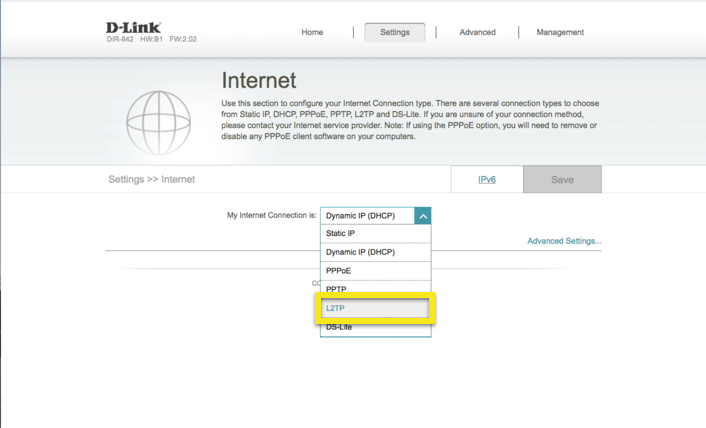 D-Link internet tab with L2TP protocol selected