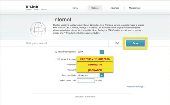D-Link internet tabblad met de relevante velden gemarkeerd
