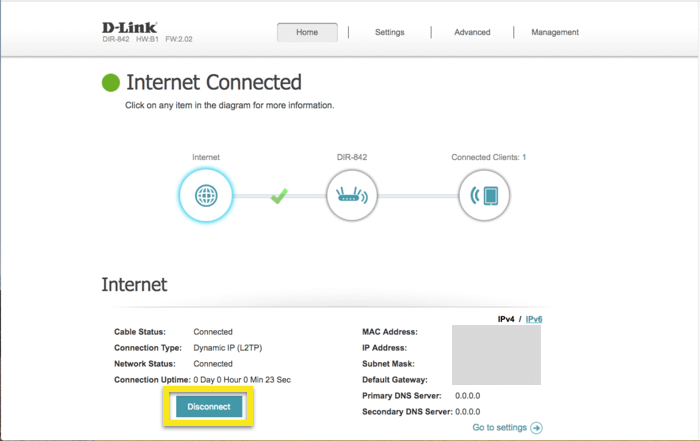 """D-Link control panel with """"Disconnect"""" button highlighted"""