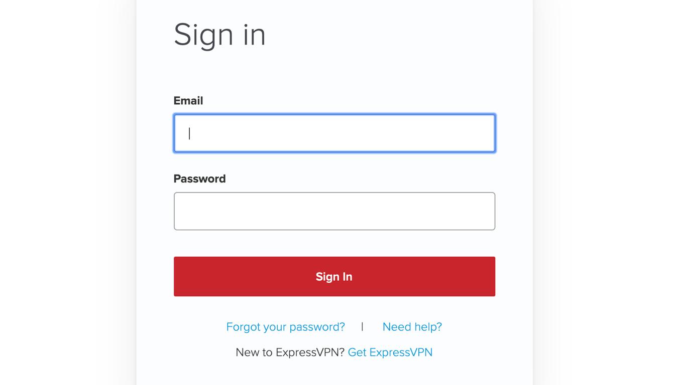 Форма входа в учетную запись ExpressVPN.
