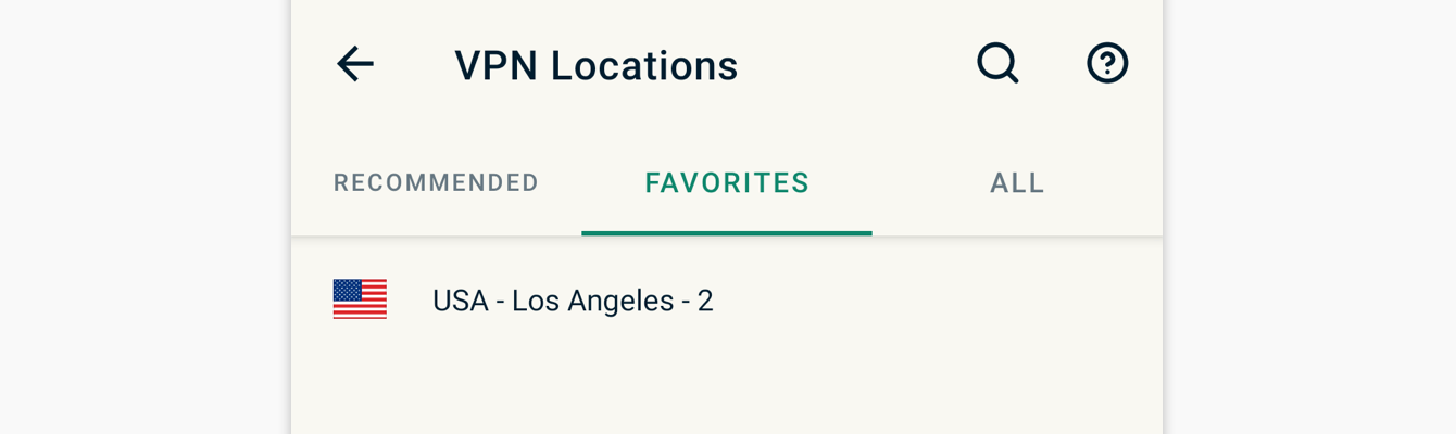 "You can access your favorite locations in the ""FAVORITES"" tab."