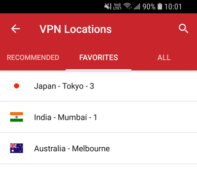 The favorites tab of the ExpressVPN Android app.