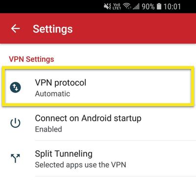 Apri il menu del protocollo VPN.