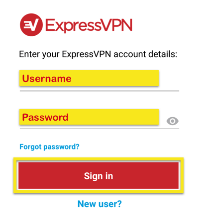 expressvpn android enter credentials