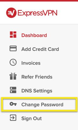 Sélectionnez « Modifier le mot de passe » dans le menu.