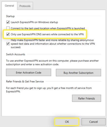 screenshot: set ExpressVPN DNS