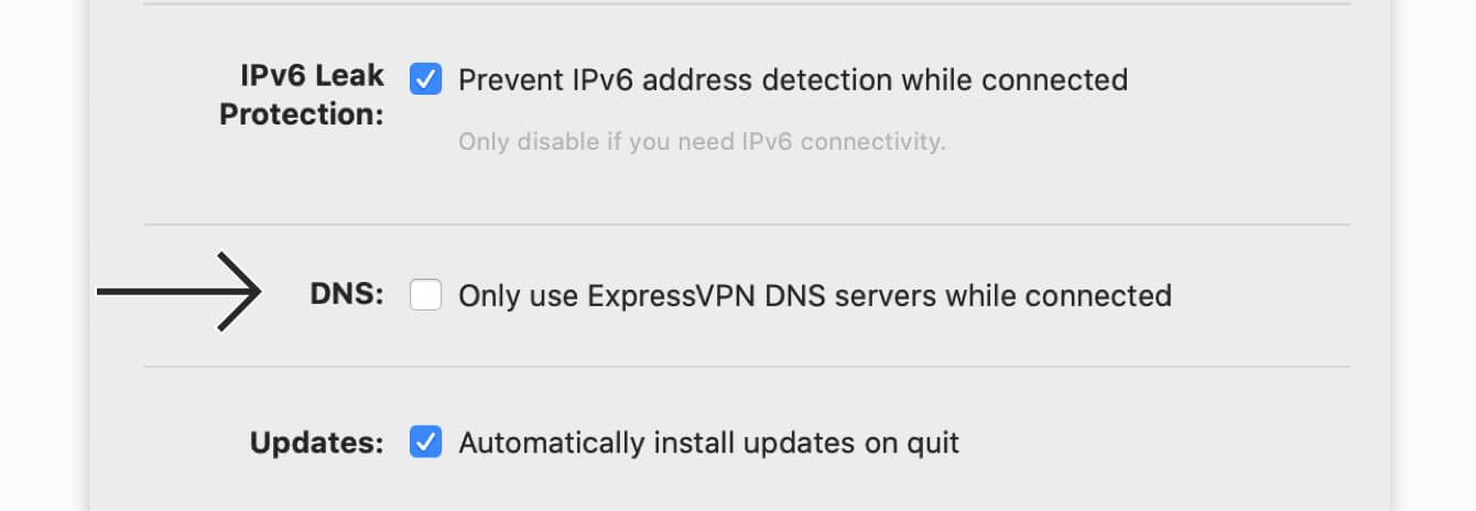 """Uncheck the box for """"Only use ExpressVPN DNS servers while connected."""""""