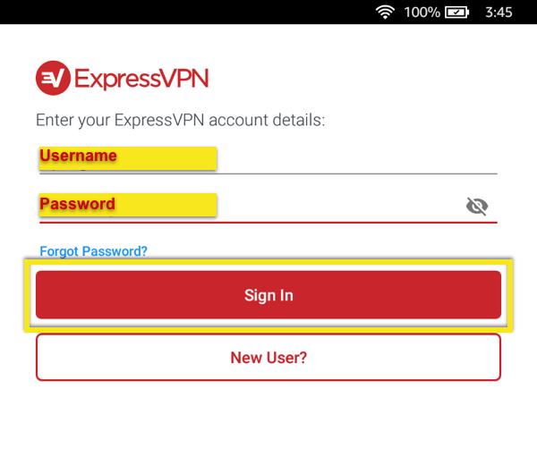 Sign in with your ExpressVPN username and password.