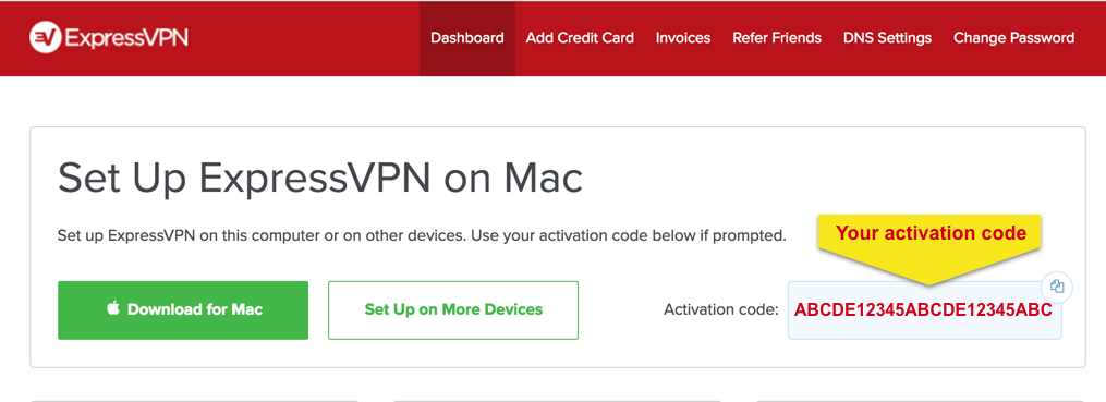 "ExpressVPN Setup screen with ""Your activation code"" highlighted."