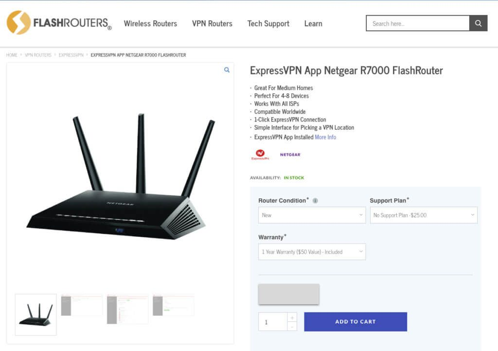 An ExpressVPN router product page on FlashRouters.com.