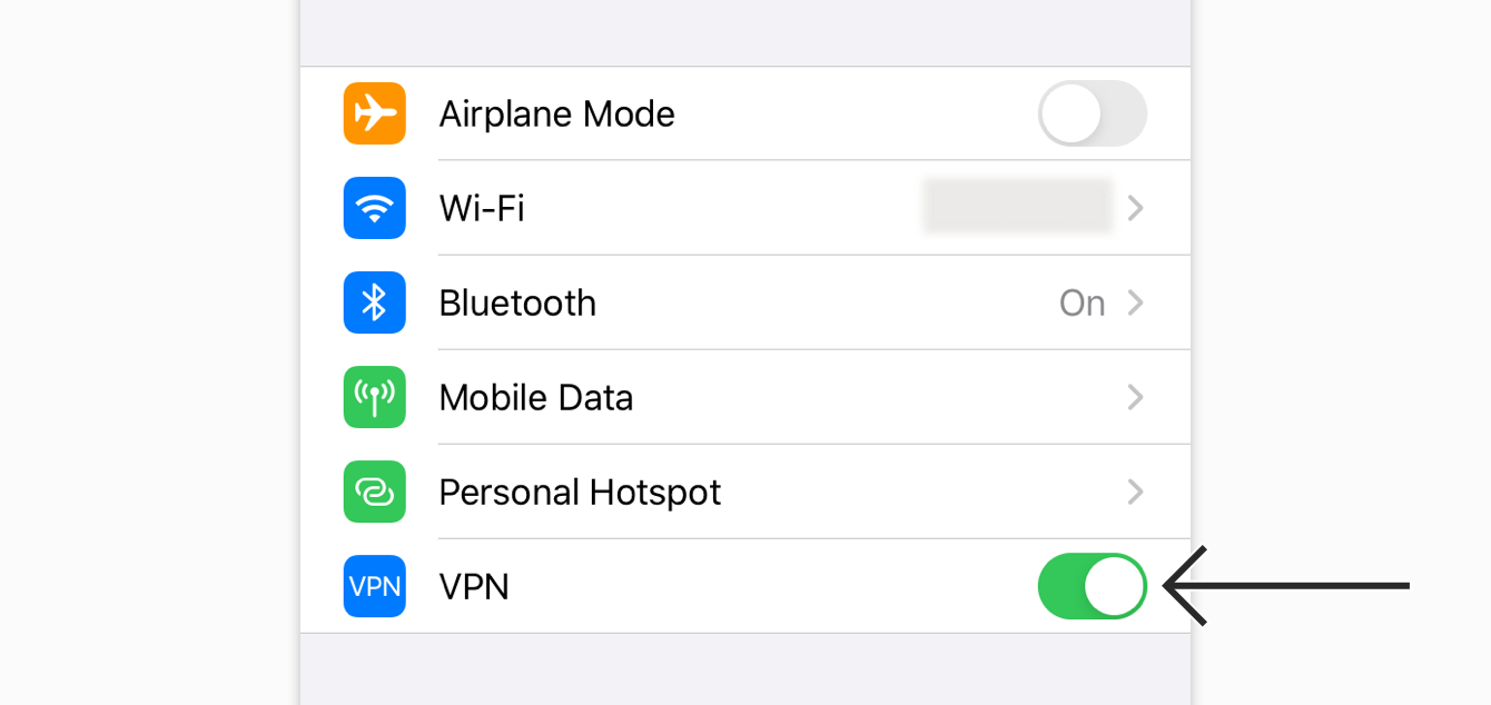 "Toggle ""VPN"" off."