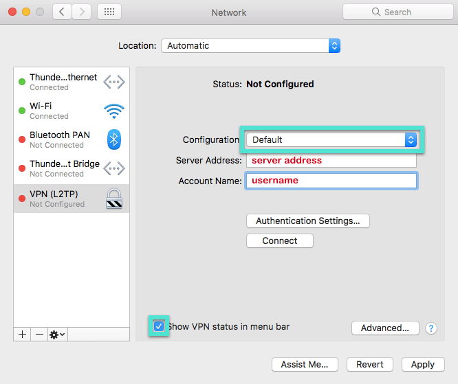 Mac Network menu with Configuration dropdown highlighted and VPN status box checked.