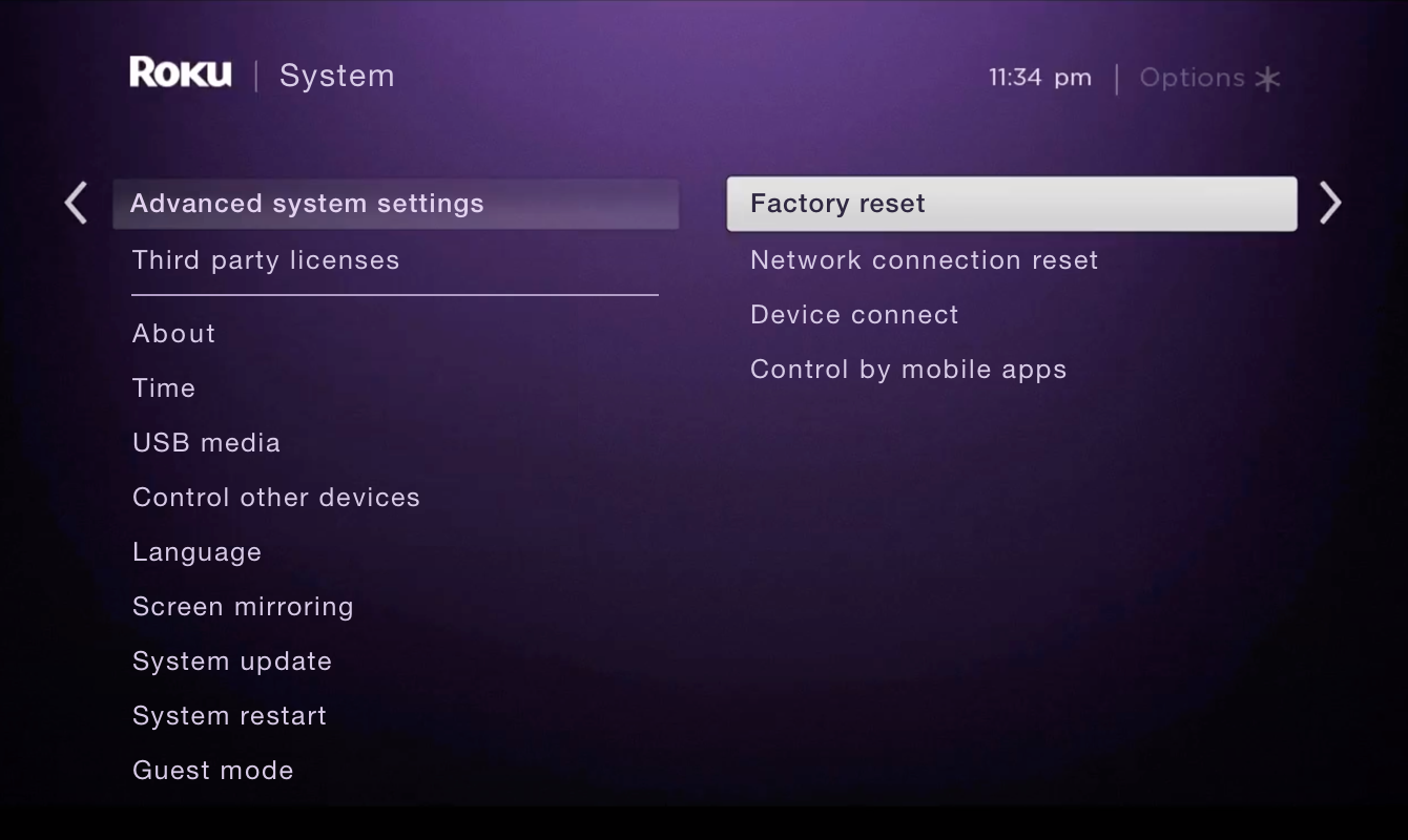 "Select ""Factory reset."""