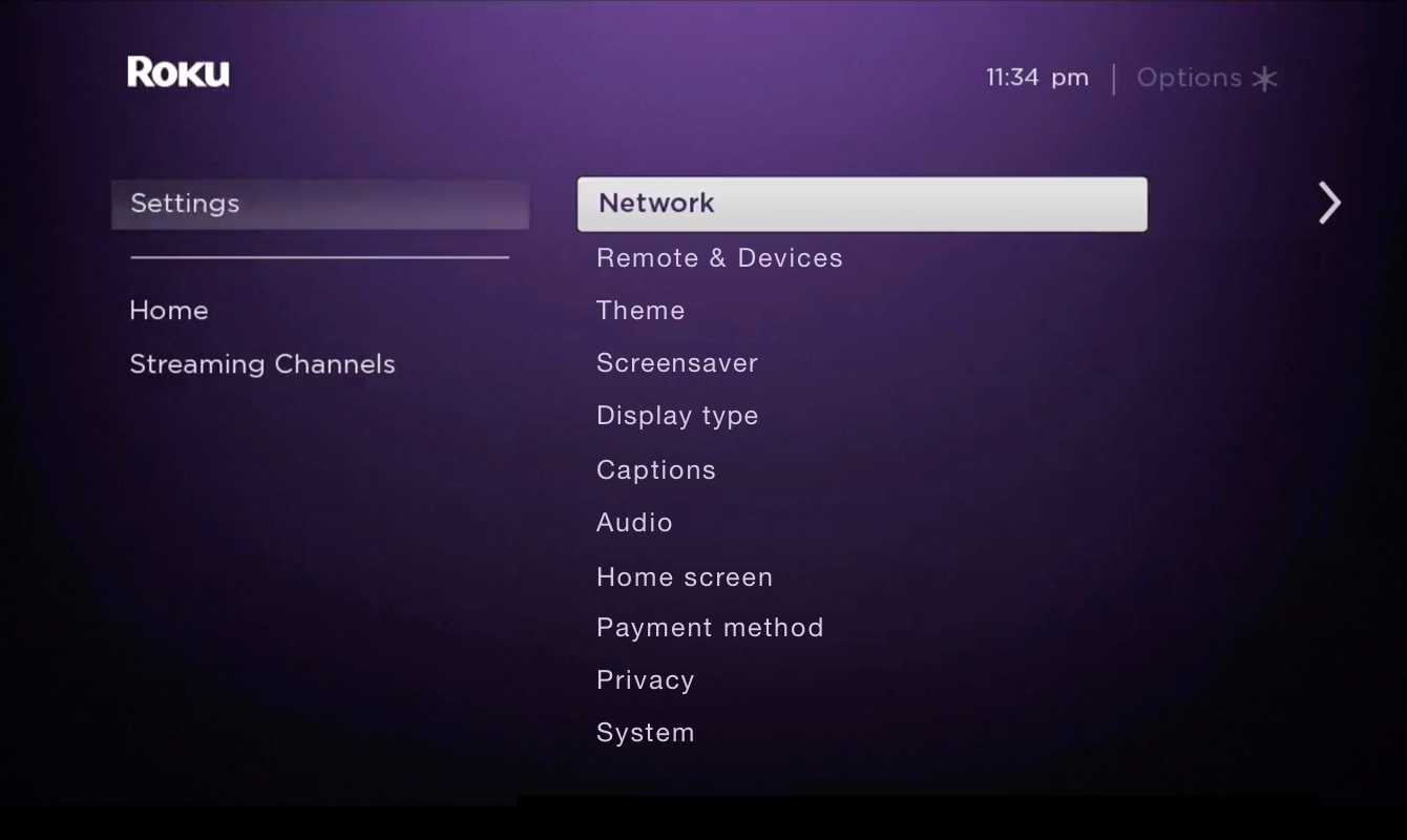 "Select ""Network."""