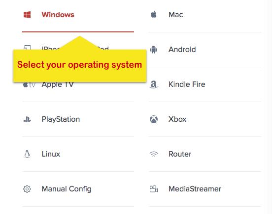 ExpressVPN instelpagina met Windows operating system gemarkeerd.
