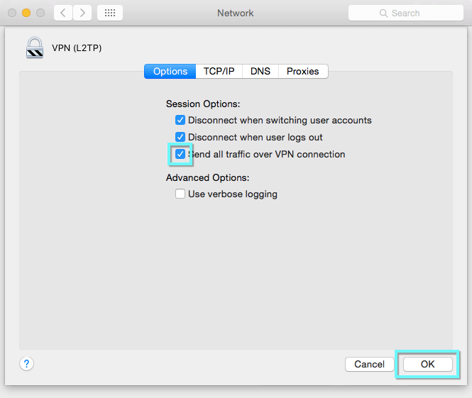 Options tab of Network menu with Send all traffic over VPN box highlighted.