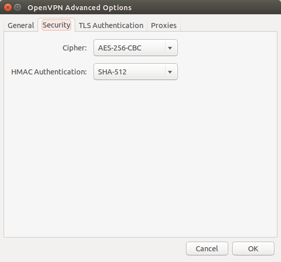 set cipher and hmac authentication