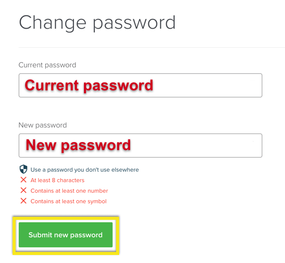 Inserisci e salva la tua nuova password ExpressVPN.