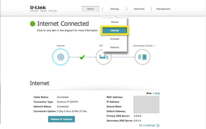 D-Link controle paneel met Internet geselecteerd in het dropdown menu
