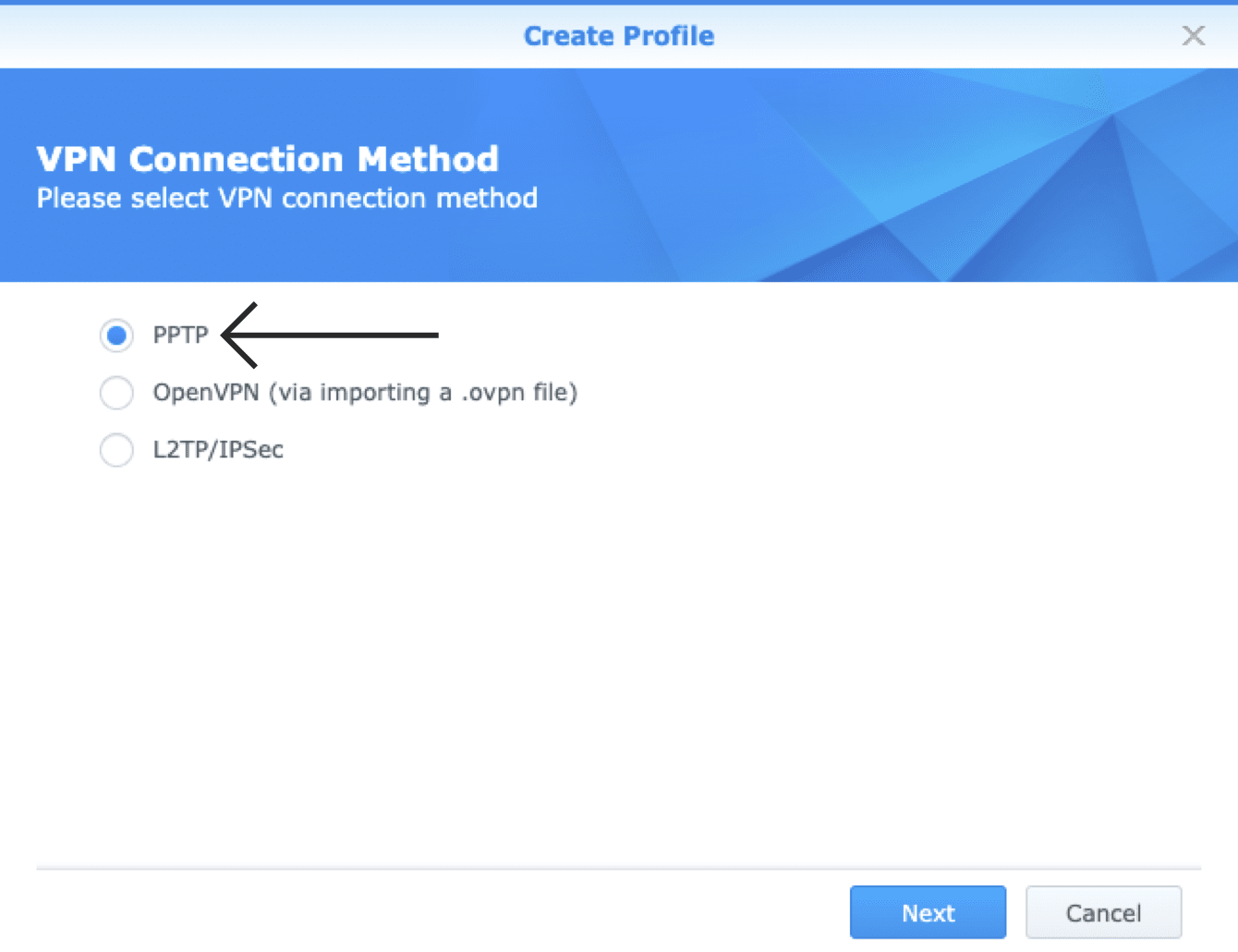 synology-ds115j-vpn-connection-method-select-pptp
