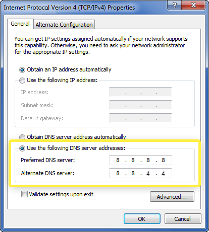 Windows Internet Protocol Version 4 Properties window with DNS server addresses highlighted.