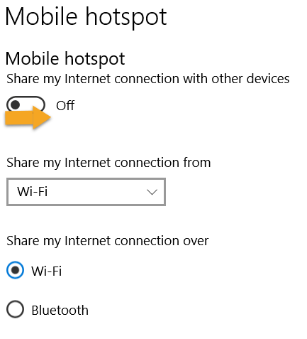 Windows Mobile hotspot menu showing how to toggle hotspot on.
