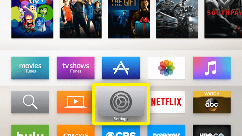 abrir ajustes Apple TV