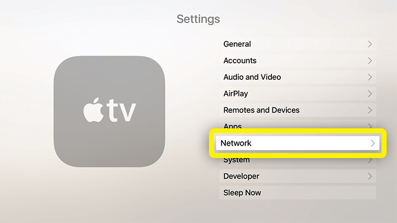 how to turn wifi setting apple tv
