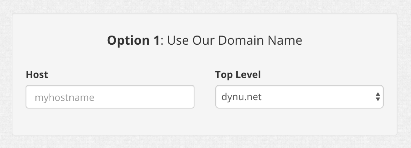 Create a hostname and enter it in Option 1.