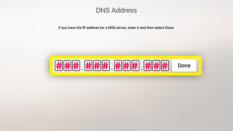 enter DNS address