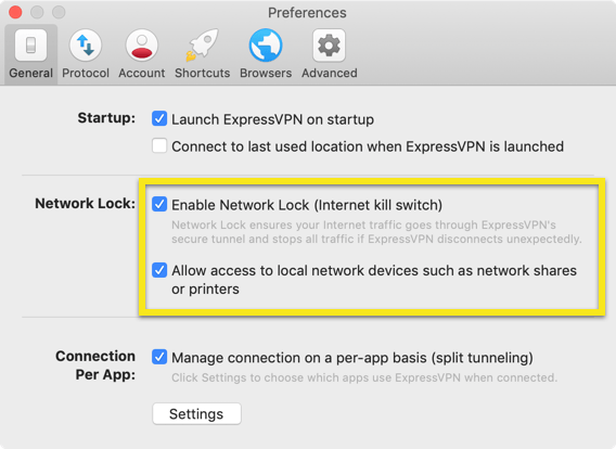 The Network Lock settings in the ExpressVPN Mac app.