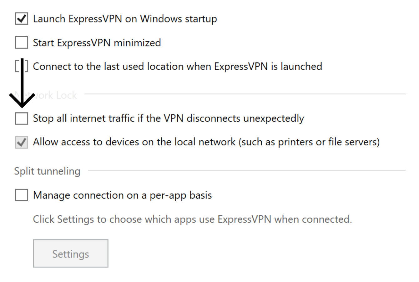 """Uncheck the box for """"Stop all internet traffic if the VPN disconnects unexpectedly."""""""