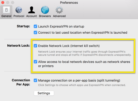 network lock preferences