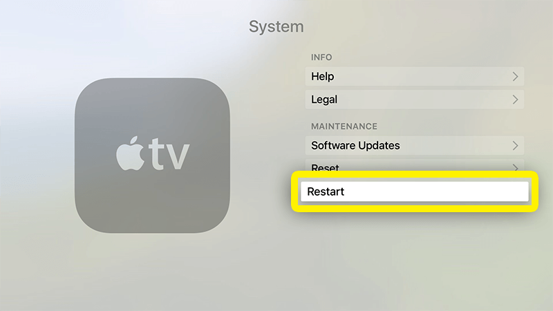 reinicie sua Apple TV