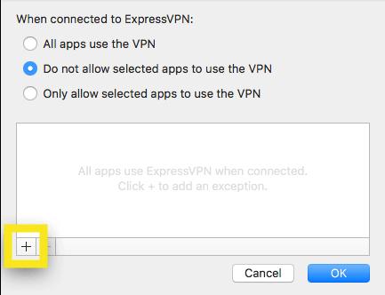 Fügen Sie Apps hinzu, die vom VPN ausgeschlossen werden sollen