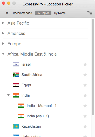 screenshot of locations listed by region