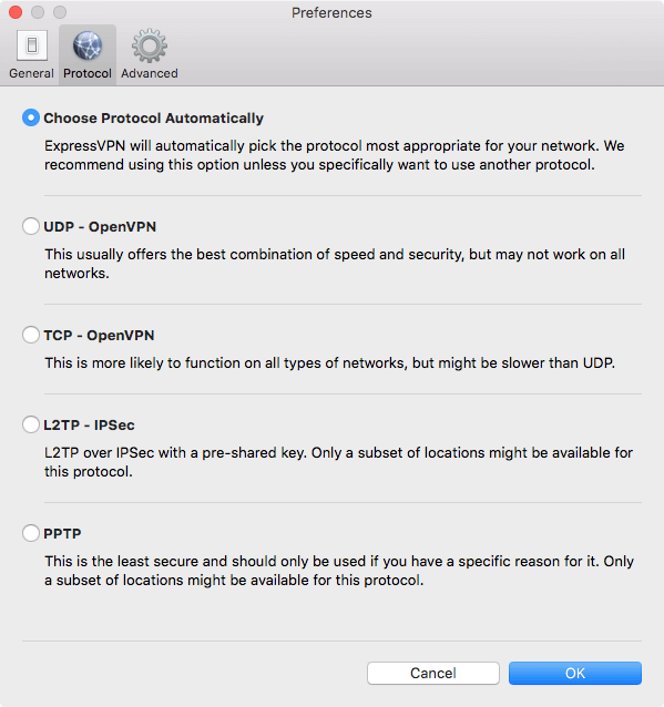 screenshot with protocol preferences