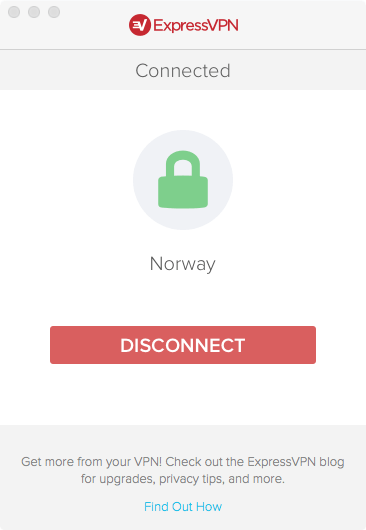 screenshot of connected VPN app
