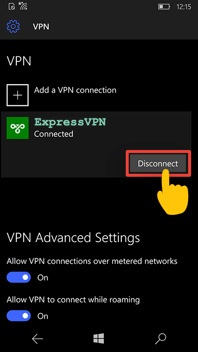 disconnect from VPN on windows 10 mobile