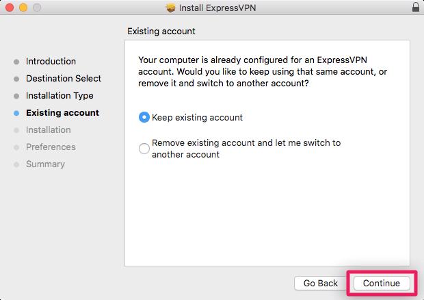 screenshot of existing account options